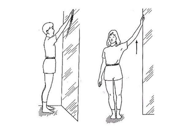 面对或侧向墙壁站立,患侧肩膀前伸,以手指扶著墙壁,向上慢慢爬行,逐渐图片