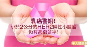 乳癌警訊!小於2公分的HER2陽性小腫瘤仍有高復發率!