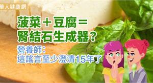 菠菜+豆腐=腎結石生成器?營養師:這謠言至少澄清15年了