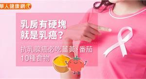 乳房有硬塊就是乳癌?抗乳腺癌必吃薑黃、番茄10種食物