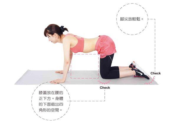 膝蓋併攏跪在地板上,手打開放在比肩寬間隔再稍微寬一點的位置。(圖片/瑞麗美人國際媒體提供)