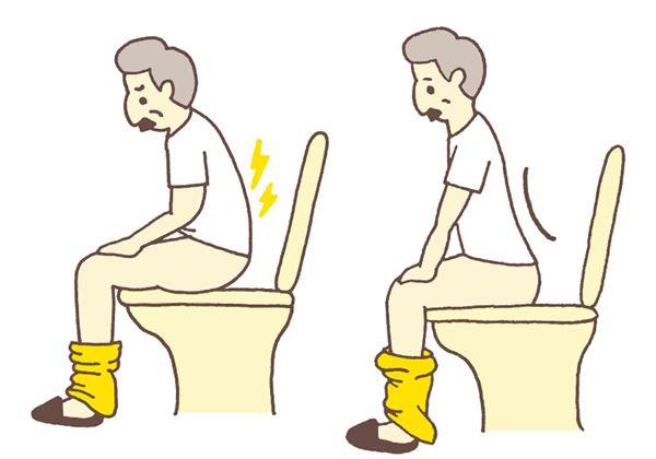 坐在馬桶上,尤其是用力時容易低頭、彎腰。(圖片提供/蘋果屋出版社)