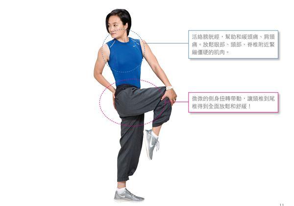 頸部的扭轉應該配合呼吸,不要憋氣,用「視線盡量向後看」來自然帶動扭轉。(圖片/瑞麗美人國際媒體提供)