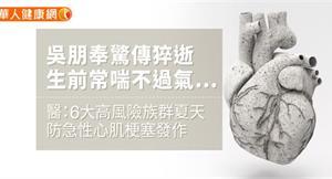 吳朋奉驚傳猝逝,生前常喘不過氣…醫:6大高風險族群,夏天防急性心肌梗塞發作